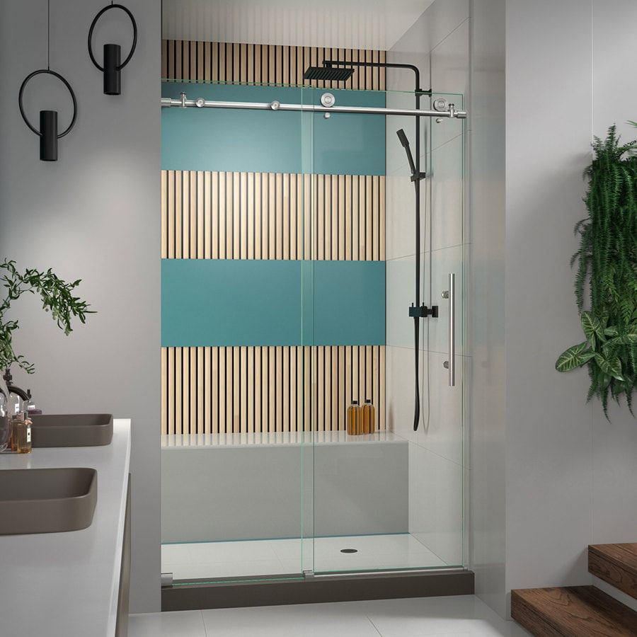 Bathroom shower doors frameless - Dreamline Enigma X 56 In To 60 In Frameless Brushed Stainless Steel Sliding