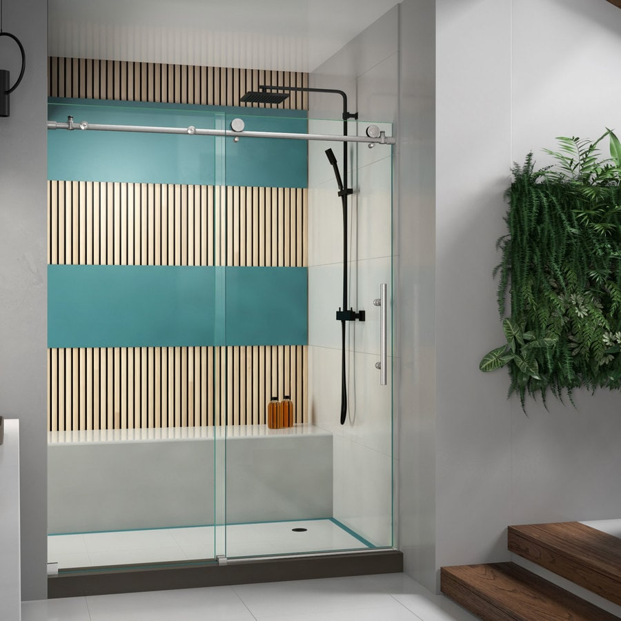 Shop shower doors at lowes dreamline enigma x 56 in to 60 in w frameless sliding shower door planetlyrics