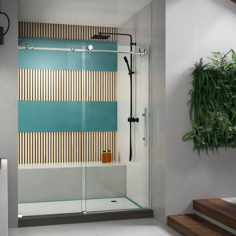 DreamLine Enigma-X 56-in to 60-in Frameless Polished Stainless Steel Sliding Shower Door