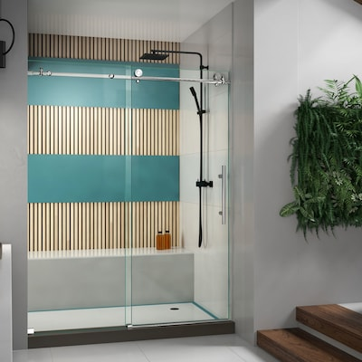 Enigma X 56 In To 60 W Frameless Byp Sliding Polished Stainless Steel Shower Door