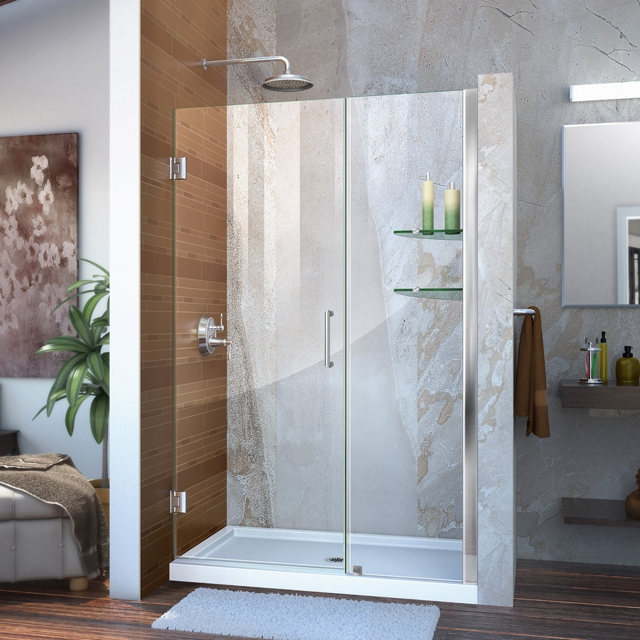 DreamLine Unidoor 43-in to 44-in W Frameless Chrome Hinged Shower Door