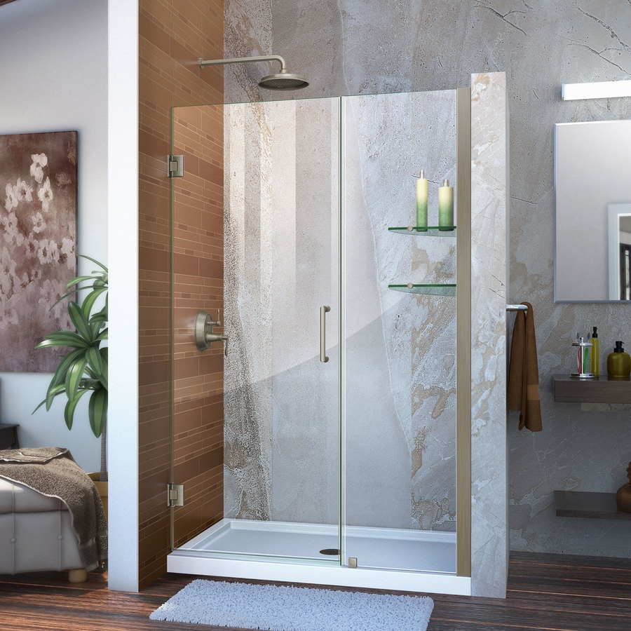 DreamLine Unidoor 43-in to 44-in W Frameless Brushed Nickel Hinged Shower Door