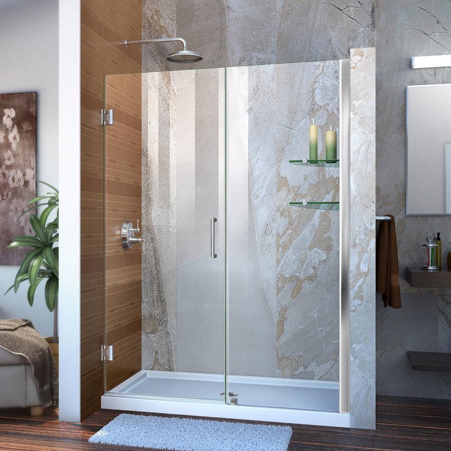 DreamLine Unidoor 51-in to 52-in W Frameless Chrome Hinged Shower Door
