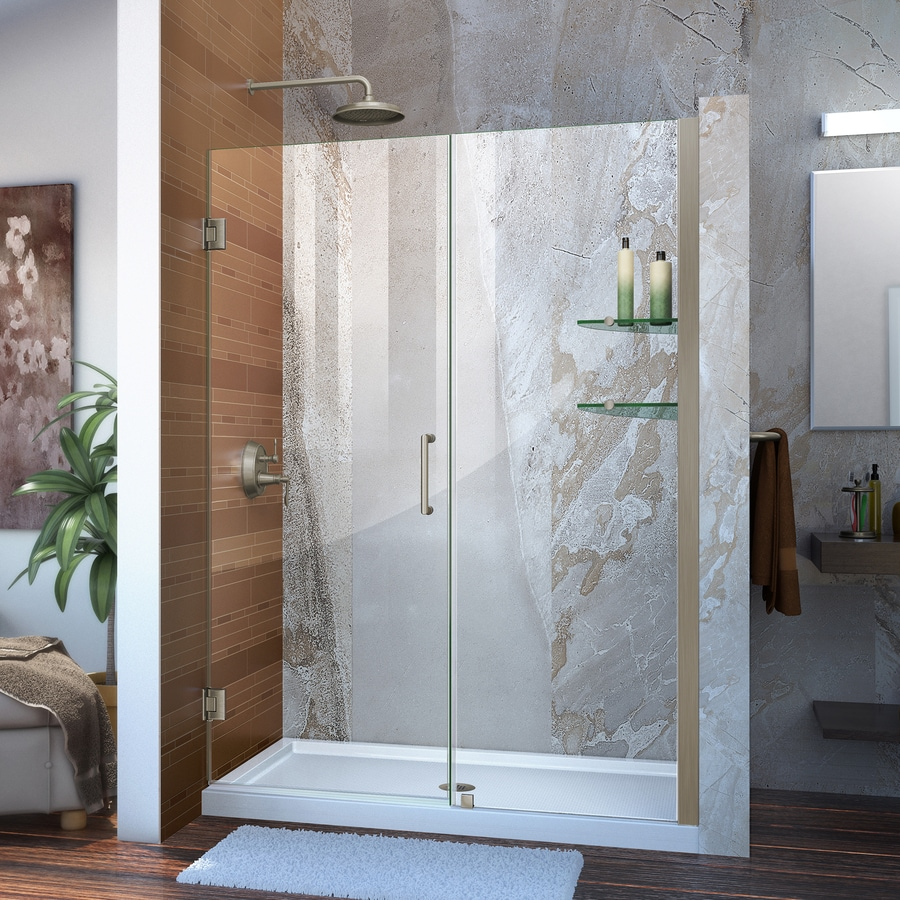 DreamLine Unidoor 50-in to 51-in W Frameless Brushed Nickel Hinged Shower Door
