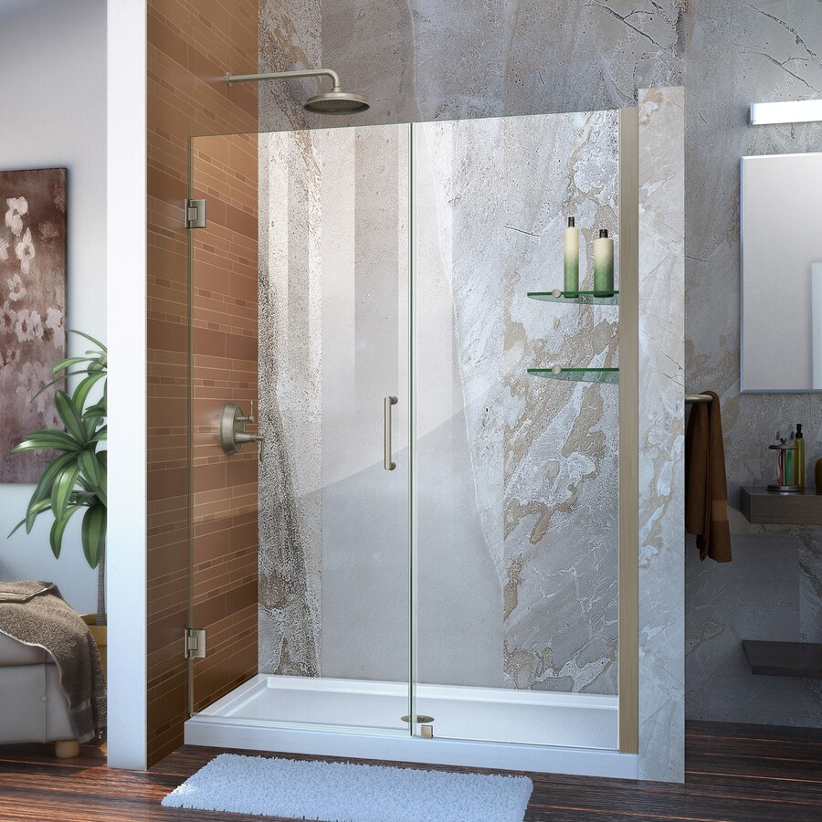 DreamLine Unidoor 53-in to 54-in Frameless Brushed Nickel Hinged Shower Door