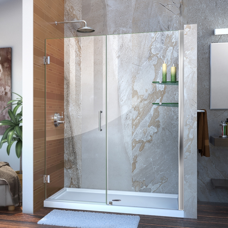 DreamLine Unidoor 60-in to 61-in W Frameless Chrome Hinged Shower Door