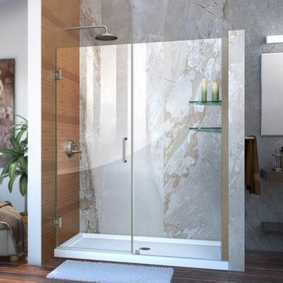 Unidoor 55 In To 56 W Frameless Hinged Brushed Nickel Shower Door