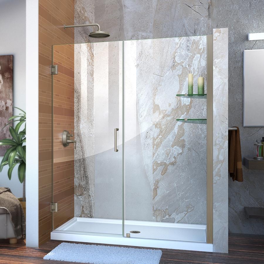 DreamLine Unidoor 59-in to 60-in W Frameless Brushed Nickel Hinged Shower Door
