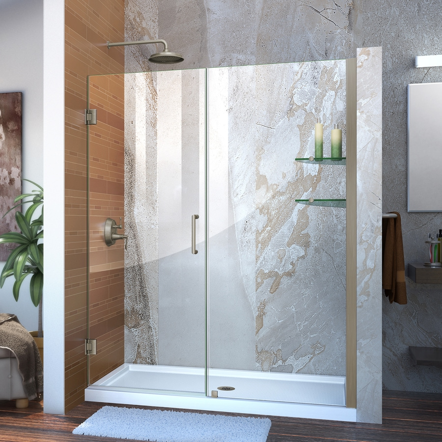DreamLine Unidoor 60-in to 61-in Frameless Brushed Nickel Hinged Shower Door