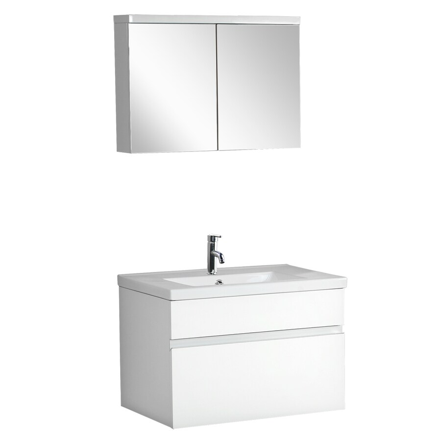 DreamLine Modern White Drop In Single Sink Bathroom Vanity With Cultured  Marble Top (Common