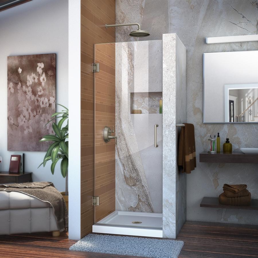 DreamLine Unidoor 24-in to 24-in Frameless Brushed Nickel Hinged Shower Door