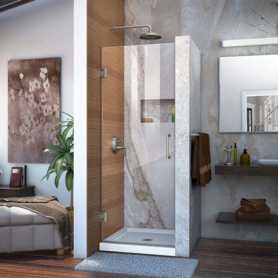 DreamLine Unidoor 30-in to 30-in W Frameless Brushed Nickel Hinged Shower Door