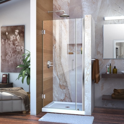 Unidoor 33 In To 34 W Frameless Hinged Chrome Shower Door