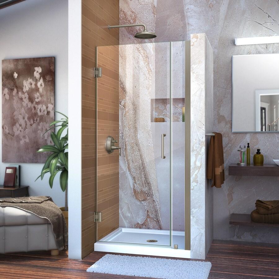 DreamLine Unidoor 31-in to 32-in W Frameless Brushed Nickel Hinged Shower Door