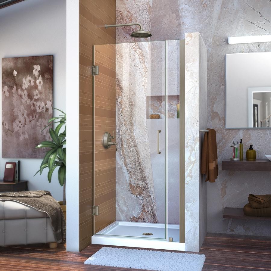 DreamLine Unidoor 33-in to 34-in W Frameless Brushed Nickel Hinged Shower Door