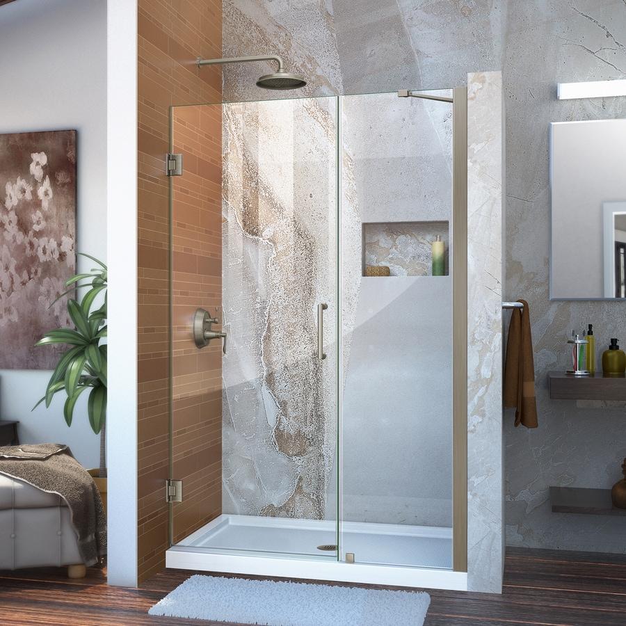 DreamLine Unidoor 43-in to 44-in W Frameless Brushed Nickel Hinged Shower Door