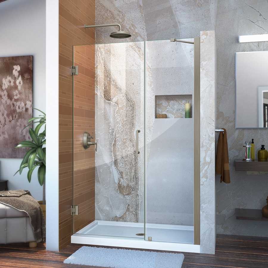DreamLine Unidoor 47-in to 48-in Frameless Brushed Nickel Hinged Shower Door