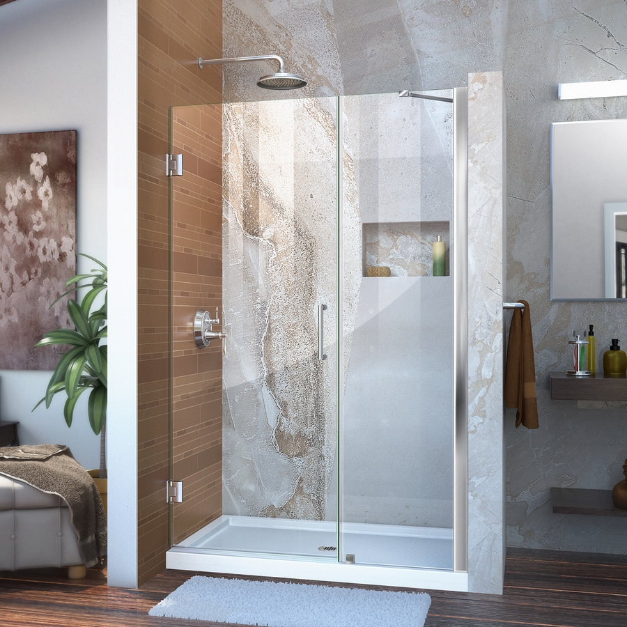 DreamLine Unidoor 48-in to 49-in W Frameless Chrome Hinged Shower Door