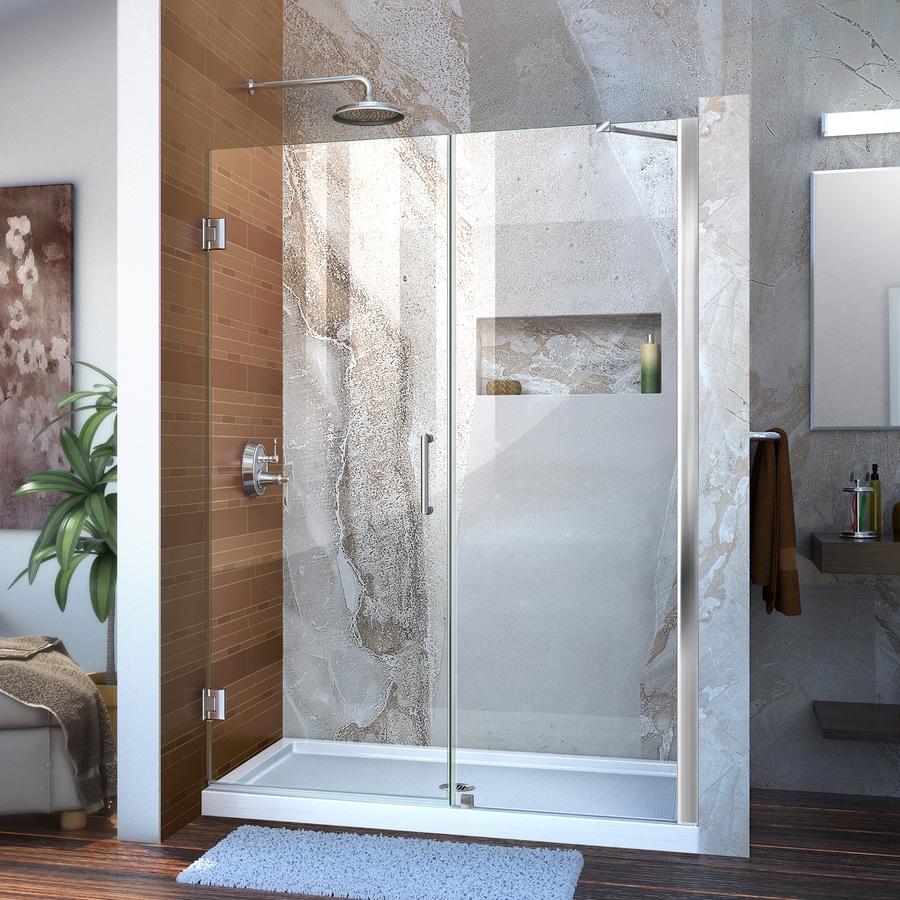 DreamLine Unidoor 49-in to 50-in W Frameless Chrome Hinged Shower Door