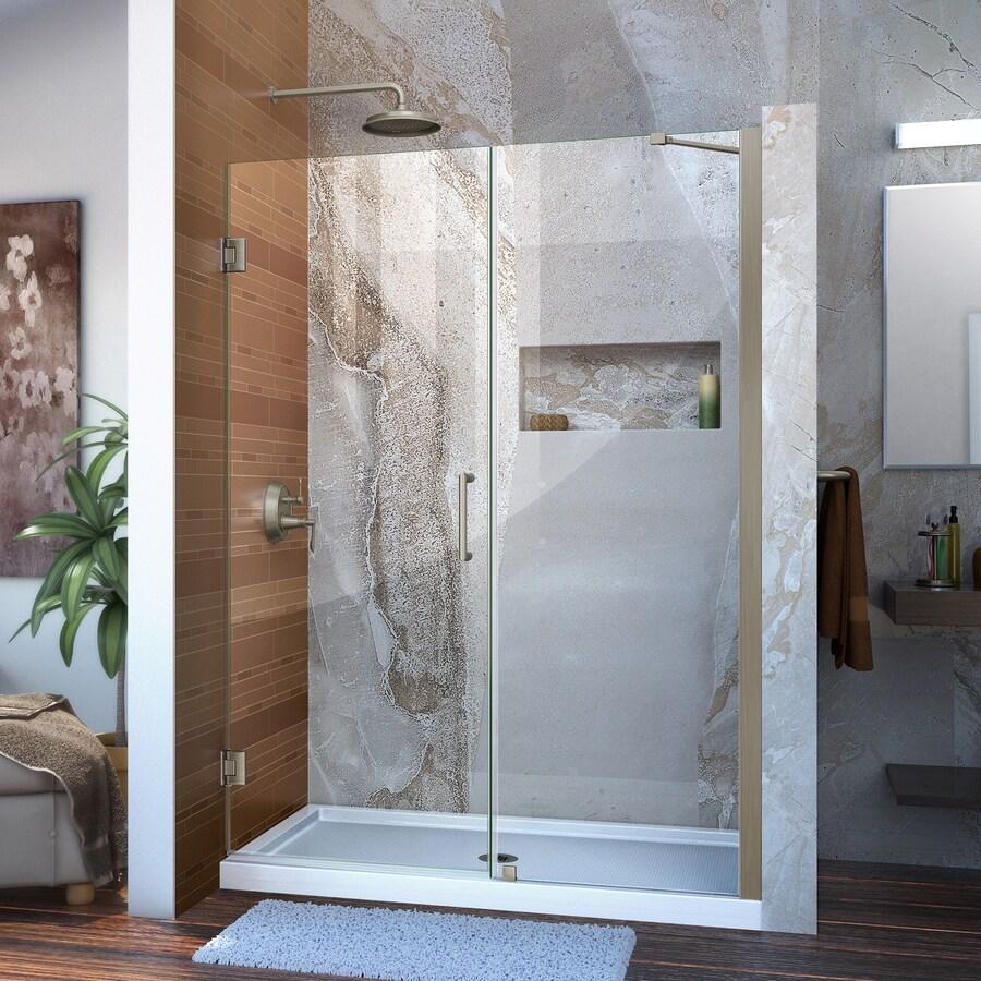DreamLine Unidoor 51-in to 52-in W Frameless Brushed Nickel Hinged Shower Door