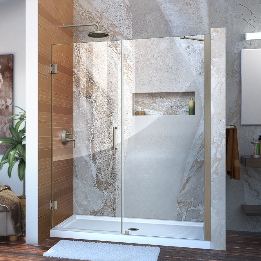 DreamLine Unidoor 60-in to 61-in W Frameless Brushed Nickel Hinged Shower Door