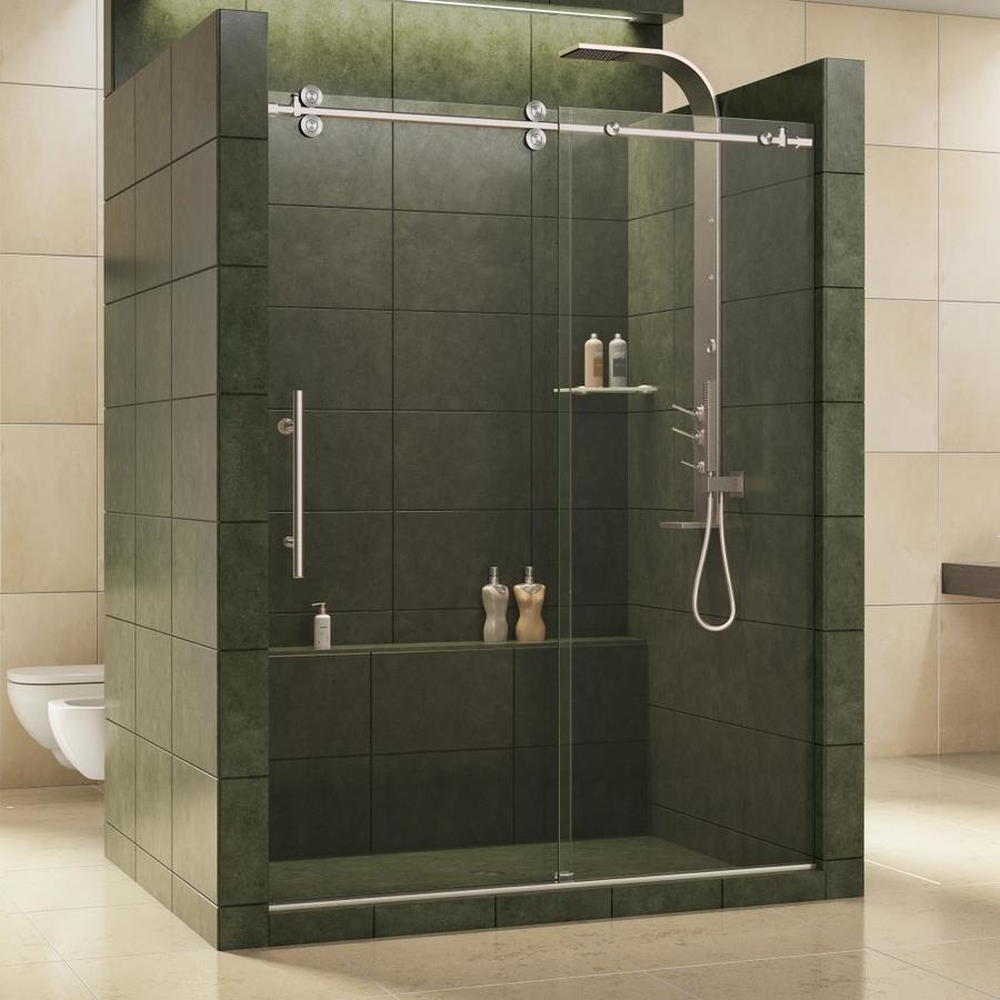 Shop Dreamline Enigma 56 In To 60 In W Frameless Brushed Stainless Steel Sliding Shower Door At