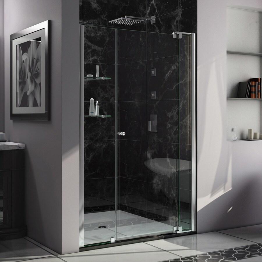 DreamLine Allure 42-in to 43-in W Frameless Chrome Pivot Shower Door
