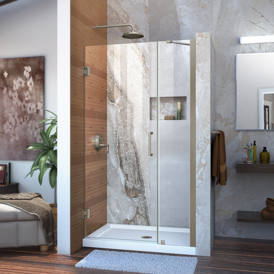 DreamLine Unidoor 36-in to 37-in Frameless Brushed Nickel Hinged Shower Door
