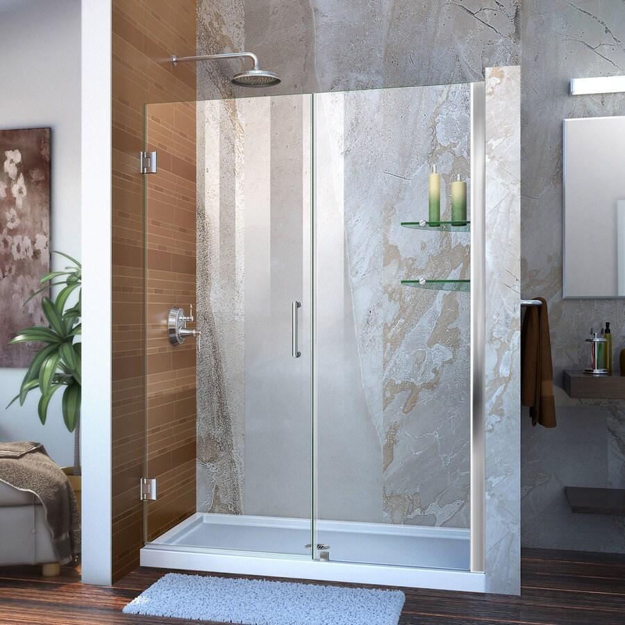 DreamLine Unidoor 48-in to 49-in W Frameless Chrome Hinged Shower Door