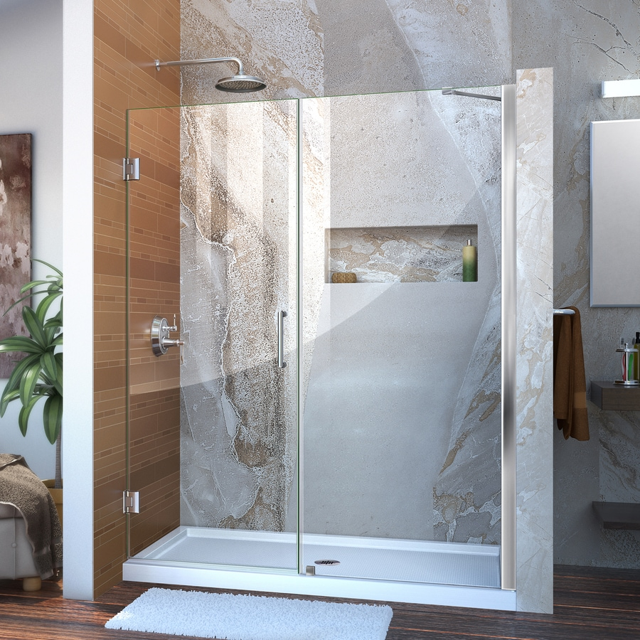 DreamLine Unidoor 54-in to 55-in Frameless Chrome Hinged Shower Door