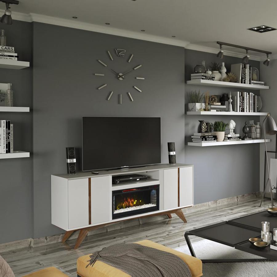 Scott Living SL White Modern Media Fireplace
