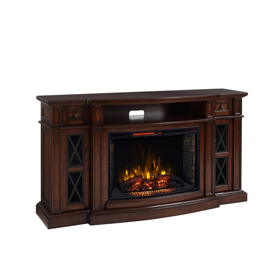 fireplace tv stand lowes Scott Living 72 in W Chestnut Infrared Quartz Electric Fireplace  fireplace tv stand lowes