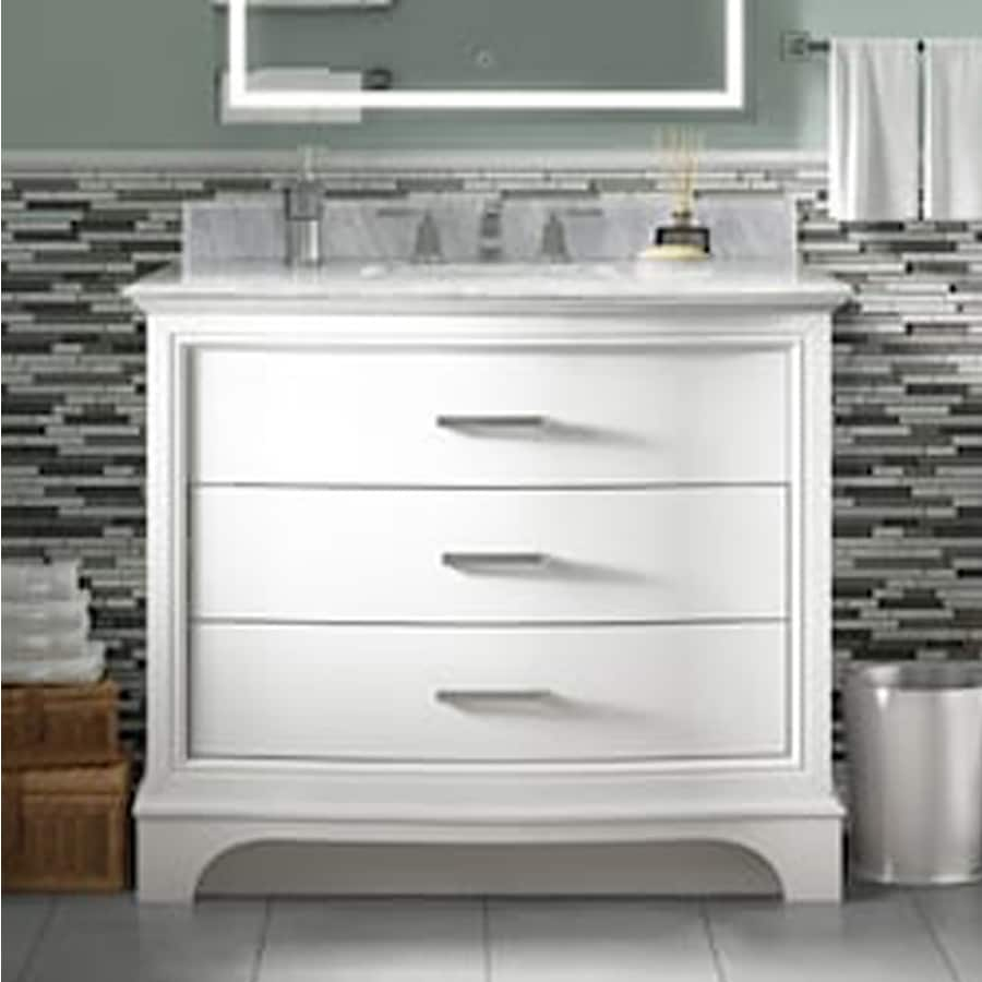 Shop Allen Roth Tennaby White Marble Undermount Single Sink Bathroom Vanity With Natural