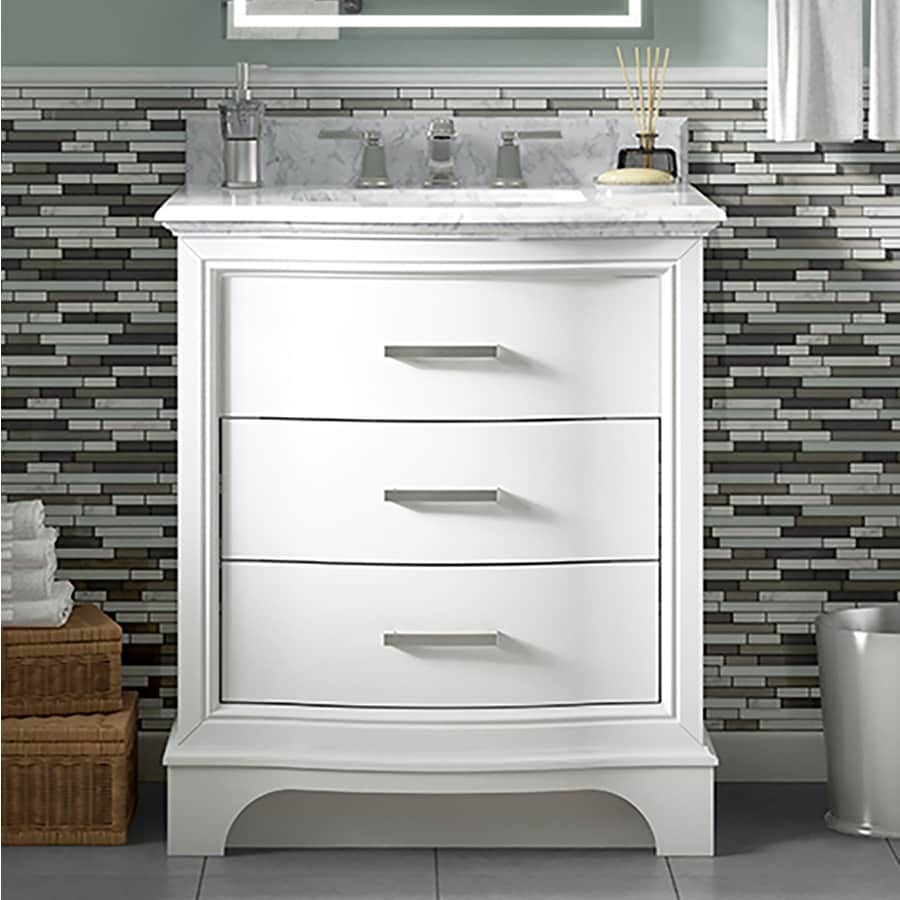Allen Roth Tennaby 30 In White Single Sink Bathroom Vanity With Natural Carrara Marble Top At