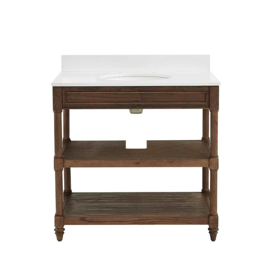 Scott Living Scott Living Drifted Oak Undermount Single Sink Bathroom Vanity with Engineered Stone Top (Common: 36-in x 22-in; Actual: 36-in x 22-in)