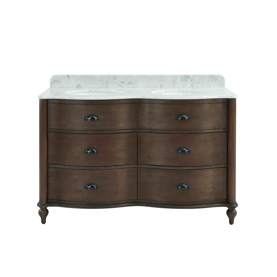 Scott Living Scott Living Coffee Undermount Double Sink Bathroom Vanity with Natural Marble Top (Common: 54-in x 22-in; Actual: 54-in x 22-in)