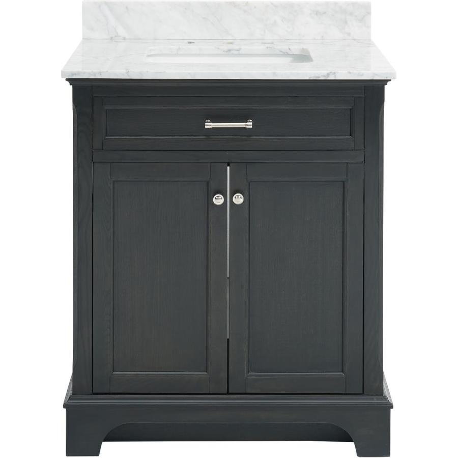 Shop Allen Roth Roveland Black Oak Undermount Single Sink Bathroom Vanity With Natural Marble