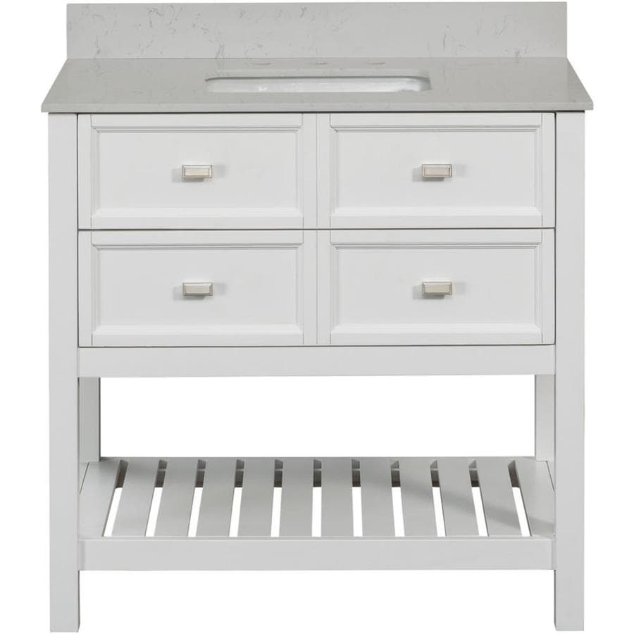 SCOTT LIVING Canterbury White 36-in Single Sink Poplar Bathroom Vanity with Engineered Stone Top (Mirror Included)