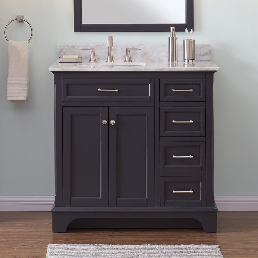 Scott Living Roveland 36 In Dark Gray Single Sink Bathroom Vanity With Natural Carrara Marble