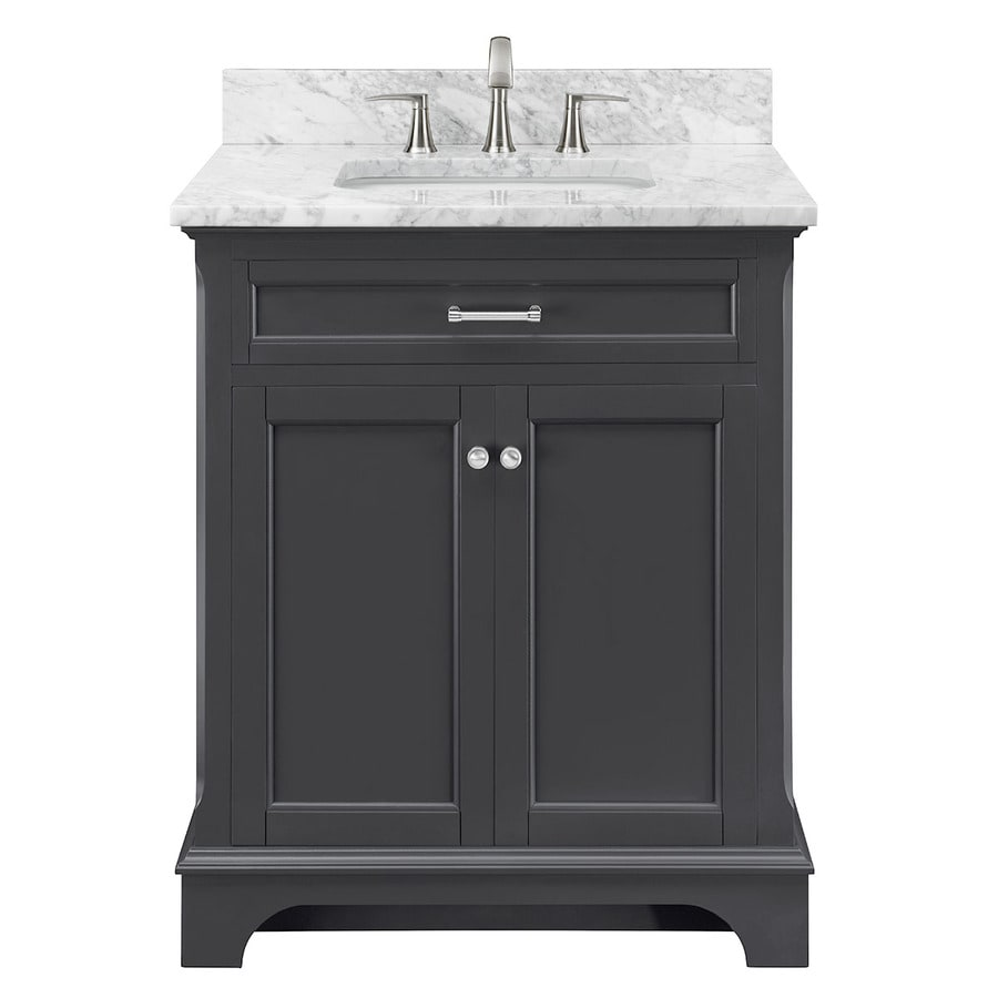 Captivating Allen + Roth Roveland Gray Undermount Single Sink Bathroom Vanity With  Natural Marble Top (Common