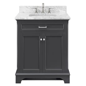 allen + roth Roveland Dark Gray Undermount Single Sink Bathroom Vanity with Natural Marble Top (Common: 30-in x 22-in; Actual: 30-in x 22-in)