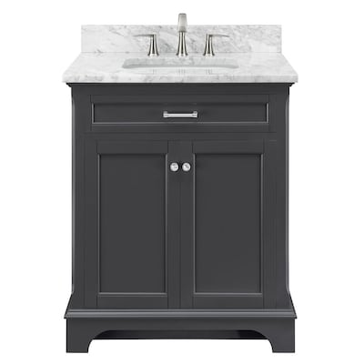 Scott Living Roveland 30 In Dark Gray Single Sink Bathroom Vanity With Natural Carrara Marble Top At Lowes Com