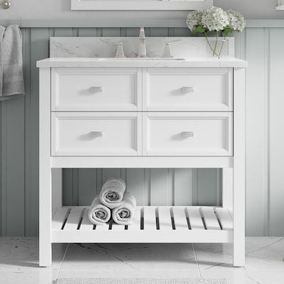 Canterbury 36 In White Single Sink Bathroom Vanity With Carrara Engineered Stone Top