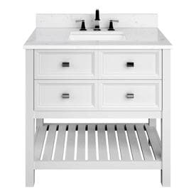 Scott Living Canterbury White Undermount Single Sink Bathroom Vanity With  Engineered Stone Top (Common: