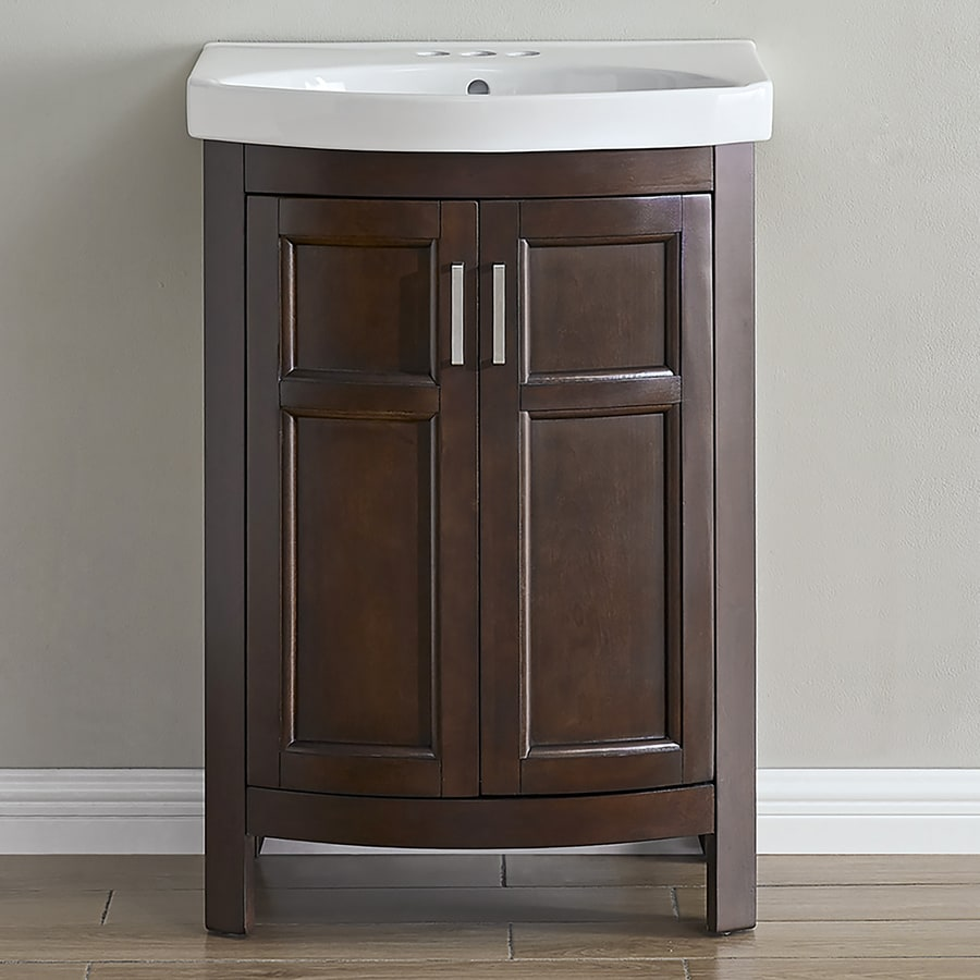 Style Selections Morecott Chocolate Single Sink Vanity With White Vitreous  China Top (Common: 24