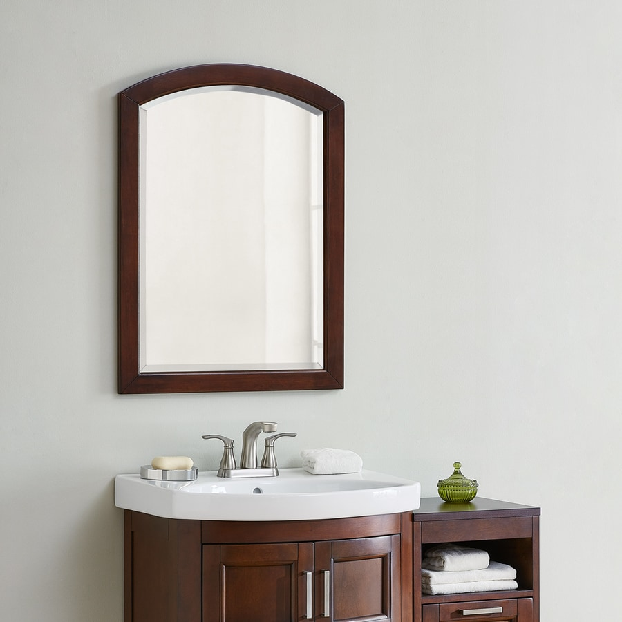 Framed bathroom vanity mirrors - Style Selections Morecott 22 In X 30 In Chocolate Arch Framed Bathroom Mirror