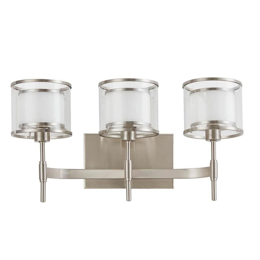 Shop wall sconces at lowes scott living canterbury 1825 in w 3 light brushed nickel arm wall sconce amipublicfo Image collections