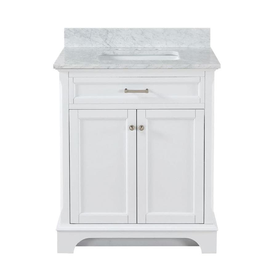 American classics bathroom vanities - Allen Roth Roveland White Undermount Single Sink Bathroom Vanity With Natural Marble Top Common
