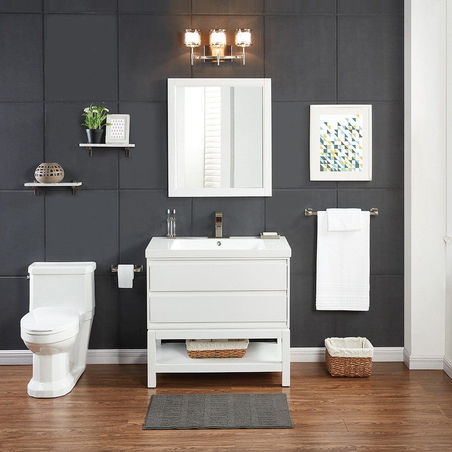 Scott Living Cayce White Integral Single Sink Bathroom Vanity With Acrylic Top Common 36