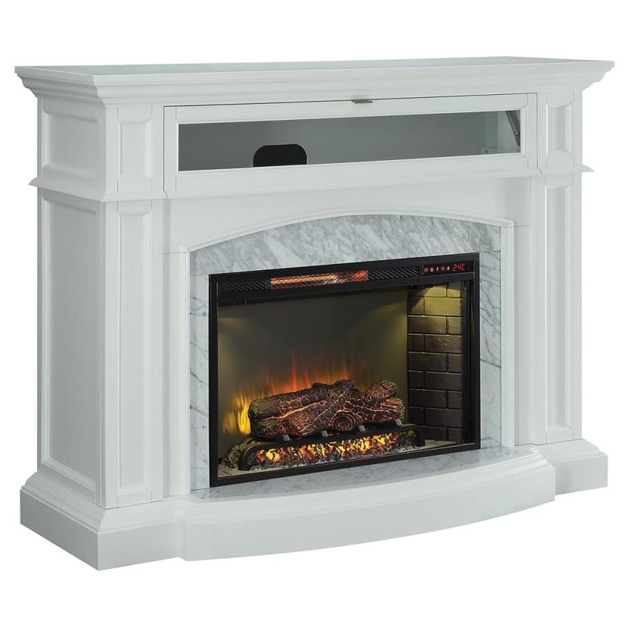 Scott Living 52 5 in W 5100 BTU White Wood Corner Or Flat Wall InfraredShop Electric Fireplaces at Lowes com. Electric Wall Fireplace Heaters. Home Design Ideas